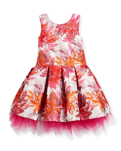 Sleeveless Pleated Floral Brocade Dress, Pink, Size 7-16