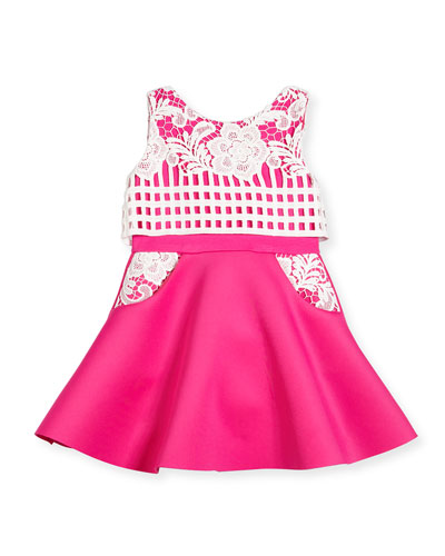 Sleeveless Lace-Trim Fit-and-Flare Scuba Dress, Pink/White, Size 7-16
