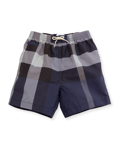 Burberry Saxon Check Swim Trunks, Blue, Size 6M-3