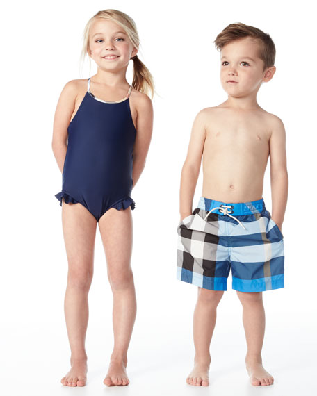 Lundy Ruffle-Trim Cross-Back Swimsuit, Navy, Size 6M-3
