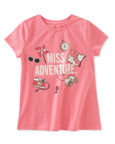 miss adventure stretch jersey tee, pink, size 7-14
