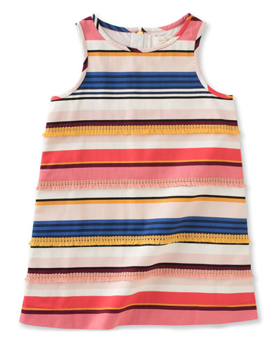 sleeveless striped shift dress, multicolor, size 7-14