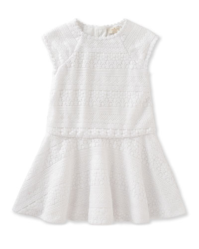 mixed-lace raglan circle dress, white, size 7-14