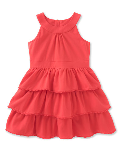 sleeveless tiered stretch jersey dress, red, size 7-14