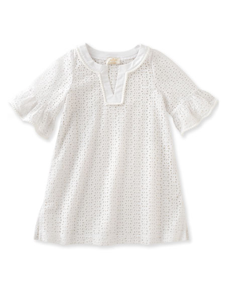 kate spade new york cotton eyelet coverup, white,