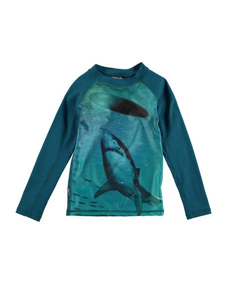 Molo Neptune Long-Sleeve Shark Rashguard, Blue, Size 2T-10