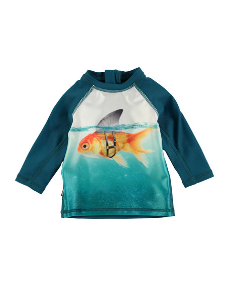 Molo Long-Sleeve Ponte Goldfish Rashguard, Blue, Size 3-24