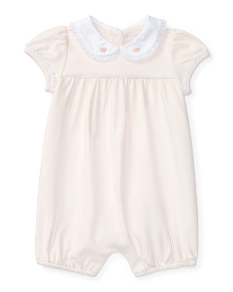Ralph Lauren Childrenswear Cap-Sleeve Pima Lace-Trim Shortall,
