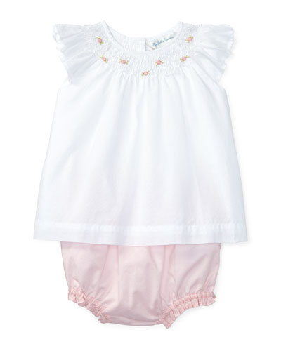 Cotton Batiste Embroidered Top w/ Contrast Bloomers, White, Size 3-24 Months