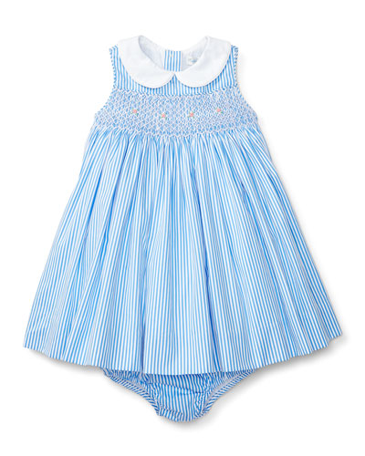 Sleeveless Striped Poplin Dress w/ Bloomers, Blue/White, Size Premie-24 Months