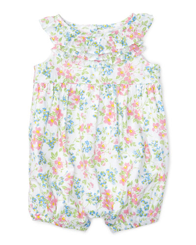 Sleeveless Floral Cotton Batiste Playsuit, Pink/White/Multicolor, Size 3-18 Months