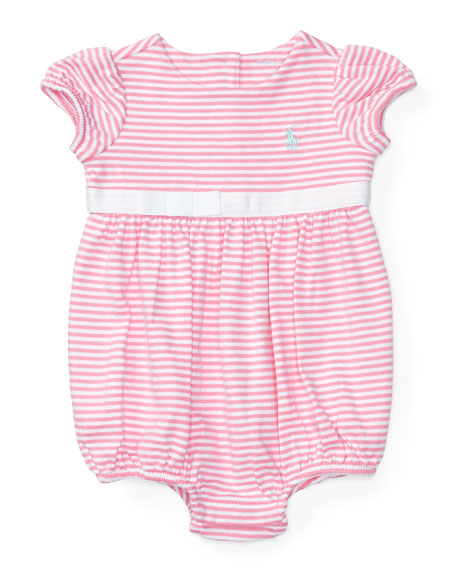 Ralph Lauren Childrenswear Cap-Sleeve Striped Bubble Playsuit,
