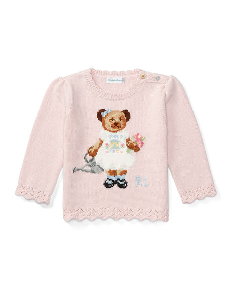 Ralph Lauren Childrenswear Icon Bear Pullover Sweater, Pink,