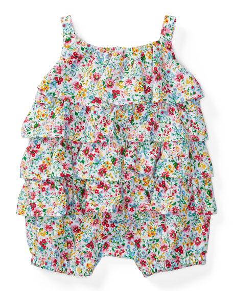 Ralph Lauren Childrenswear Sleeveless Tiered Floral Playsuit,