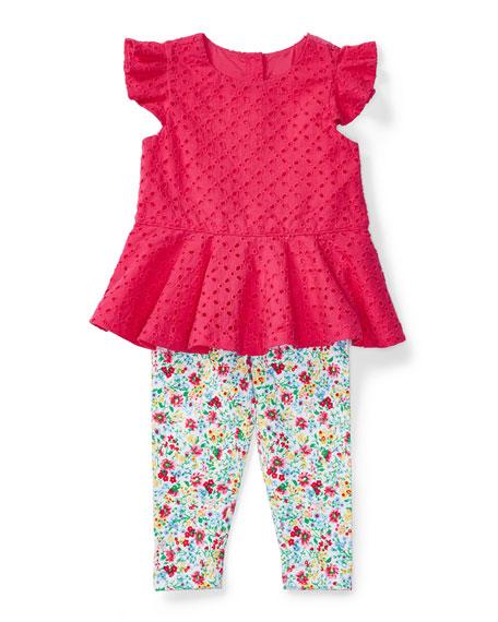Ralph Lauren Childrenswear Sleeveless Eyelet Top w/ Floral