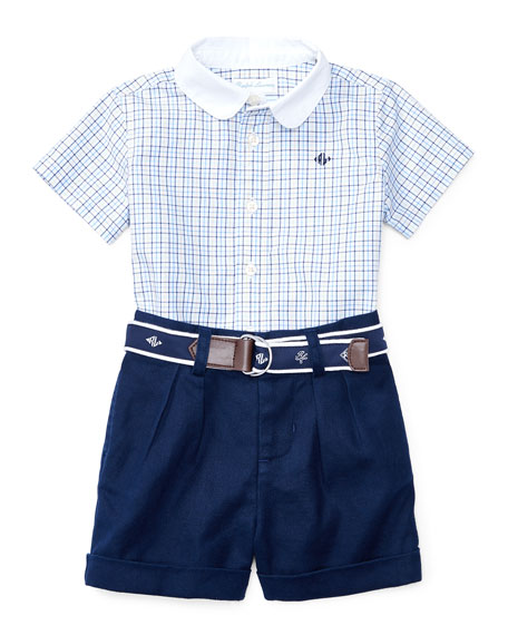 Ralph Lauren Childrenswear Short-Sleeve Check Shirt w/ Belted