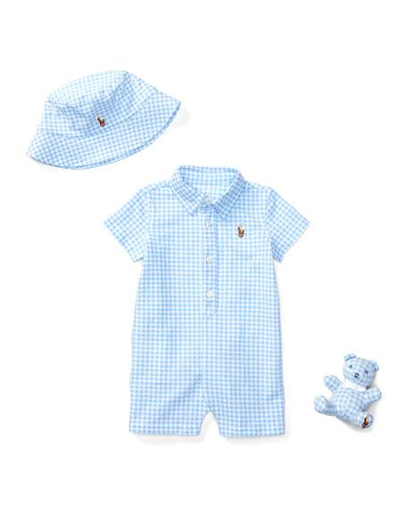 Ralph Lauren Childrenswear Three-Piece Gingham Shortall Gift Set,