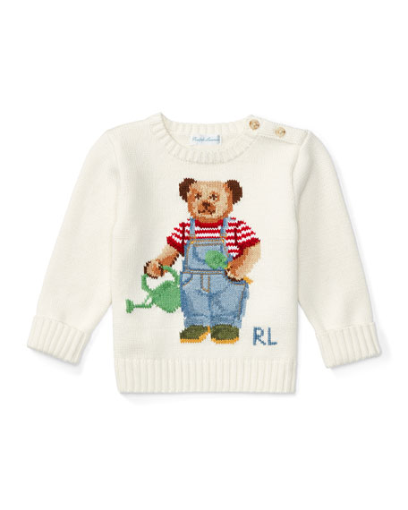 Ralph Lauren Childrenswear Cotton Icon Bear Pullover Sweater,