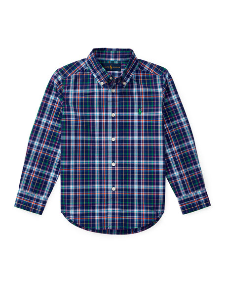 Ralph Lauren Childrenswear Long-Sleeve Plaid Cotton Poplin Shirt,