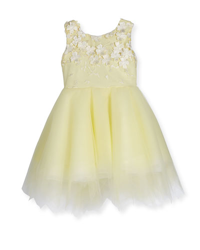 Belle Sleeveless Embroidered Tulle Dress, Yellow, Size 4-6