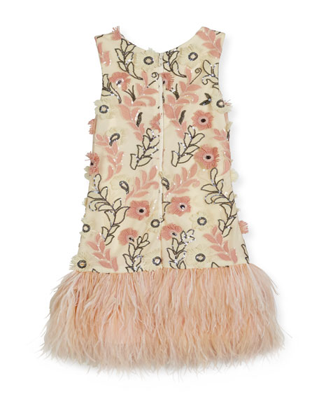 Molly Sleeveless Sequin Feather-Hem Shift Dress, White/Pink, Size 7-16
