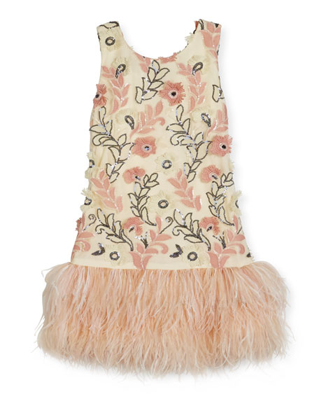 Zoe Molly Sleeveless Sequin Feather-Hem Shift Dress, White/Pink,
