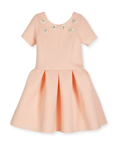 Meg Short-Sleeve Pleated Scuba Dress, Blush, Size 7-16