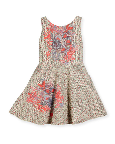 Day Dream Metallic Tweed Swing Dress, Pink Pattern, Size 7-16