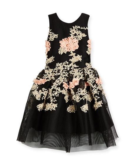 Zoe Mila Sleeveless Pleated Floral Mesh Dress, Black,