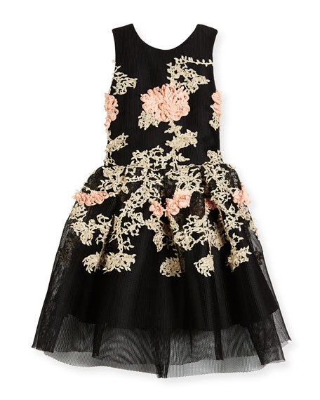 Mila Sleeveless Pleated Floral Mesh Dress, Black, Size 7-16