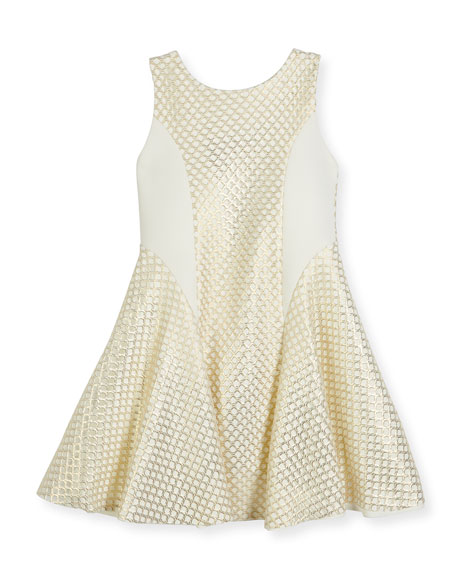 Zoe Lexie Sleeveless Netted Mesh Fit-and-Flare Dress, Gold,