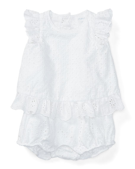 Ralph Lauren Childrenswear Sleeveless Floral Eyelet Bubble