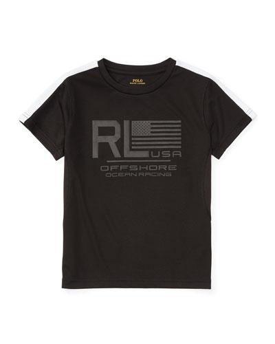 Short-Sleeve Mesh Performance Tee, Polo Black, Size 2-4