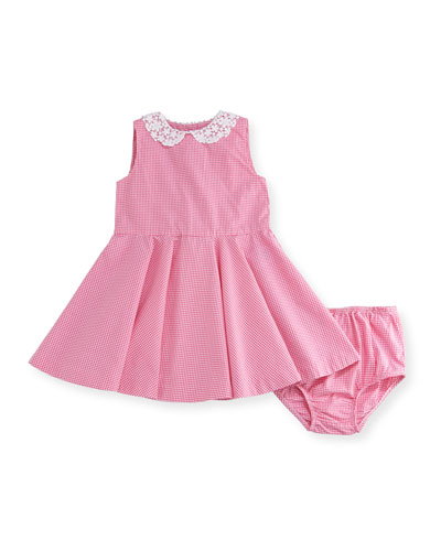 Sleeveless Poplin Gingham Dress w/ Bloomers, Pink, Size 6-24 Months