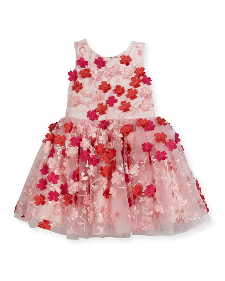 Amelie Sleeveless 3D Floral Party Dress, White/Pink, Size 7-16