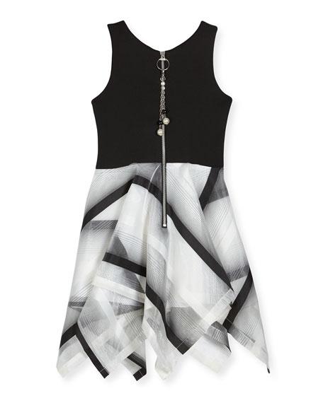 Layla Sleeveless Scuba & Organza Handkerchief Dress, Black/White, Size 7-16