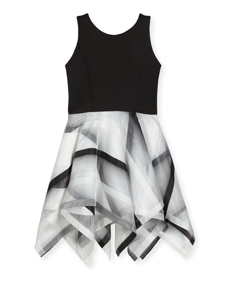 Zoe Layla Sleeveless Scuba & Organza Handkerchief Dress,
