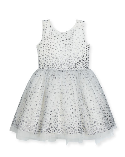 Aria Sleeveless Metallic Polka-Dot Tulle Dress, White/Silver, Size 2-6