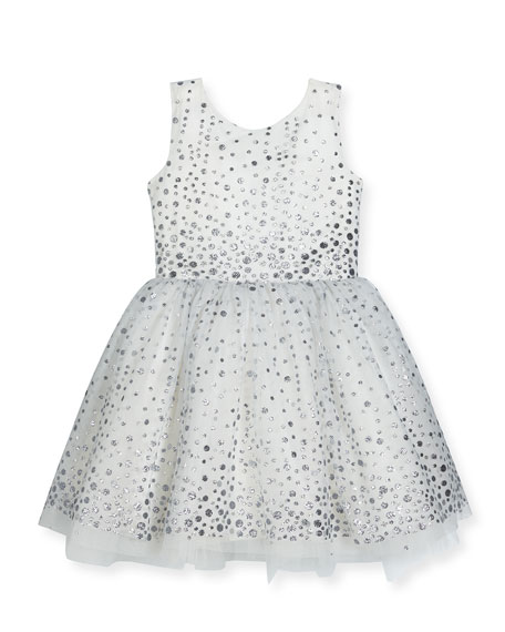 Zoe Aria Sleeveless Metallic Polka-Dot Tulle Dress, White/Silver,