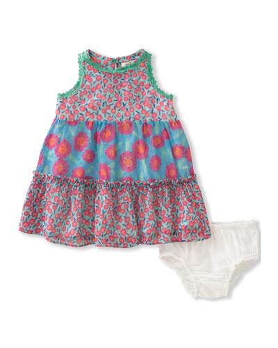 floral chiffon trapeze dress w/ bloomers, multipattern, size 12-24 months