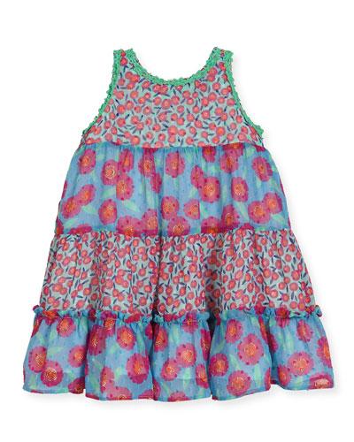 floral chiffon trapeze dress, multicolor, size 2-6