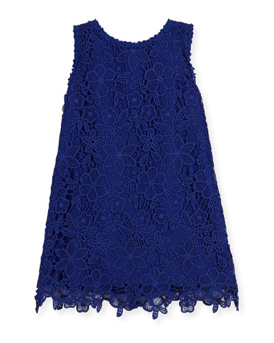 sleeveless floral lace shift dress, cobalt, size 7-14