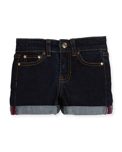 rolled stretch denim shorts, indigo, size 7-14