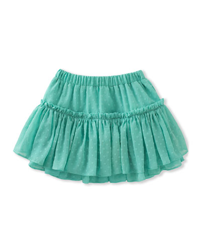 tiered clipped dot skirt, turquoise, size 7-14