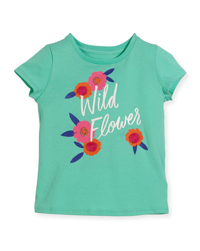 wild flower jersey tee, turquoise, size 7-14