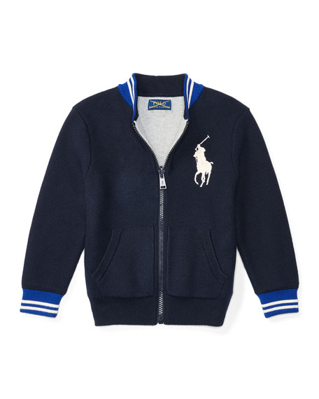 Ralph Lauren Childrenswear Reversible Cotton Mesh Cardigan,