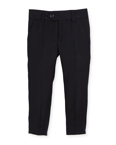 Straight-Leg Suit Pants, Navy, Size 2-14