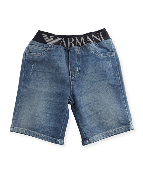 Armani Junior Stretch Denim Logo-Waist Shorts, Blue, Size