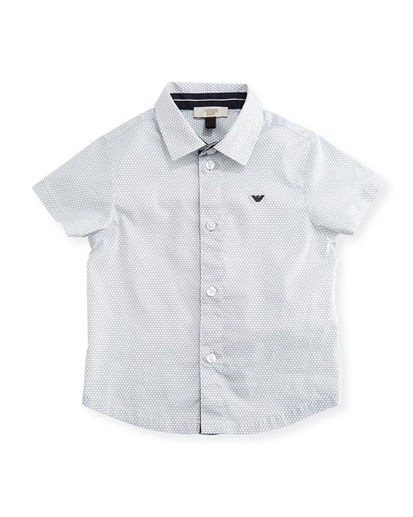 Short-Sleeve Printed Stretch Poplin Shirt, Gray, Size 6-36 Months