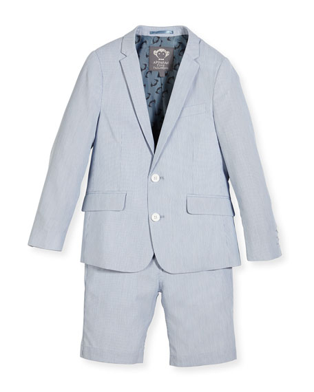 Appaman Striped Seersucker Short Suit, Light Blue, Size